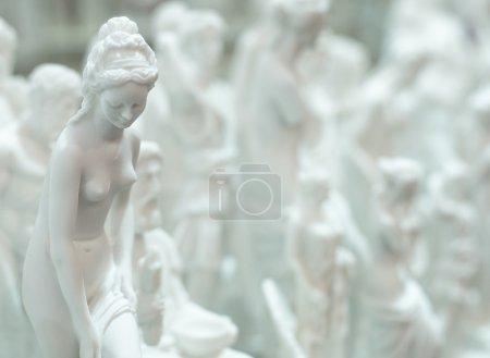Lot of statues of Greek gods.