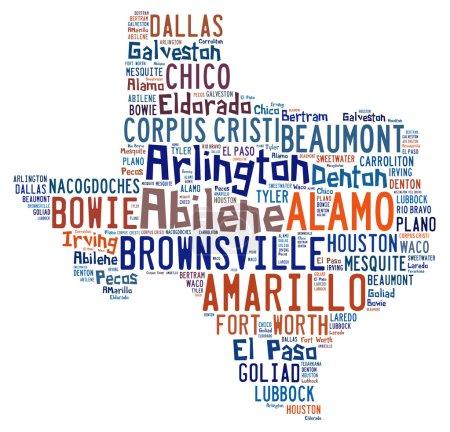Foto de Nube de palabra en forma de Tejas con los nombres de las ciudades encontradas Texas - Imagen libre de derechos