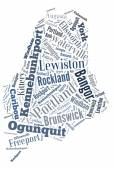 Word Cloud showing cities in Maine