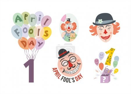 Illustration for April fools day elements set - Royalty Free Image