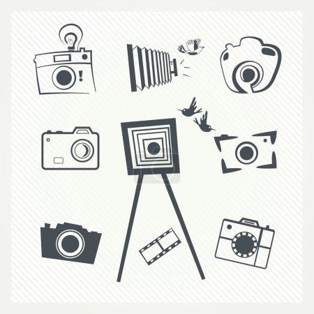 Illustration pour Ensemble d'icônes pour appareil photo. Illustration vectorielle - image libre de droit