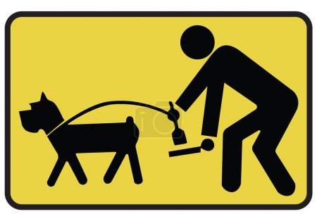 Illustration for Clean up after your dog sign hanging on white background. - Royalty Free Image