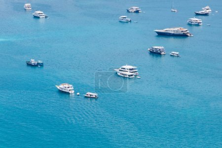 Group of boats from aerial view