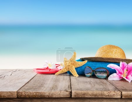 Beach accessories for travelling on wood