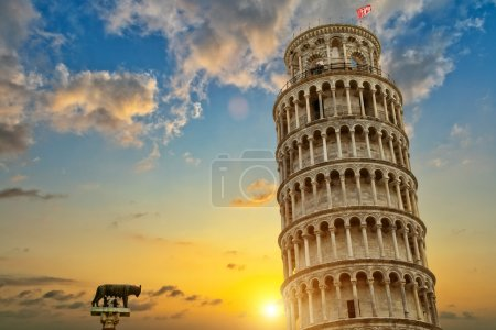 Leaning tower and the cathedral baptistery, Italy