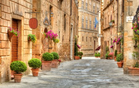 Colorful street in Pienza, Tuscany, Italy