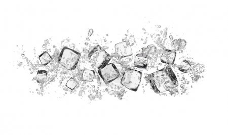ice cubes with water splashes on white background