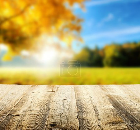 Photo for Autumn concept with empty wooden planks and blur tree on background - Royalty Free Image