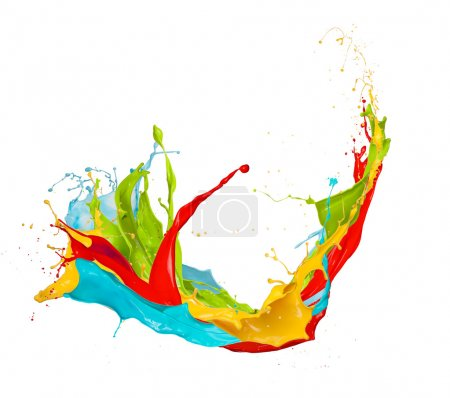Colored splashes on white background