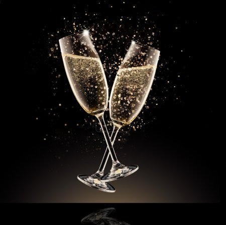Photo for Celebration theme. Glasses of champagne with bubbles, isolated on black background - Royalty Free Image