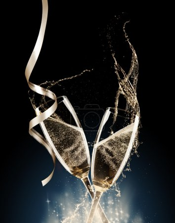 Photo for Glasses of champagne with splash, isolated on black background - Royalty Free Image