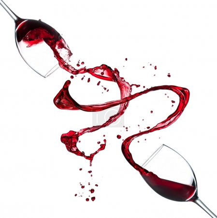 Red wine splash on white background