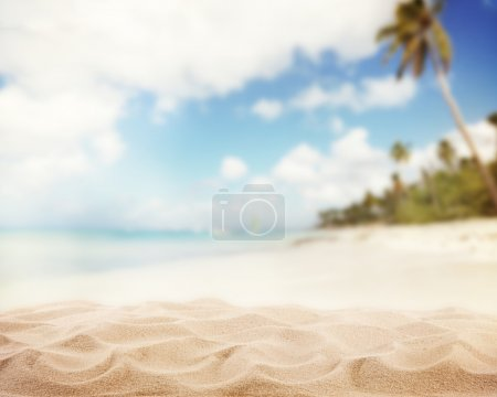 Photo for Sandy beach with blur sea on background - Royalty Free Image