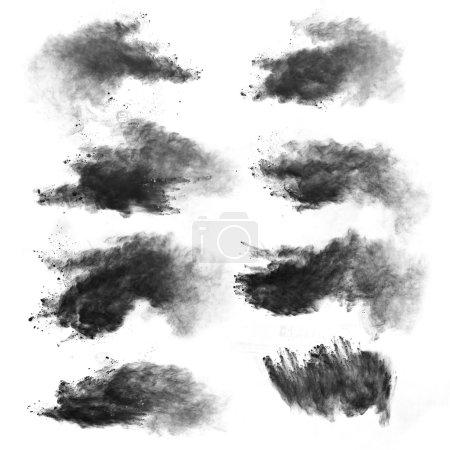 Photo pour Mouvement de gel des explosions de poussière blanche isolées sur fond blanc - image libre de droit