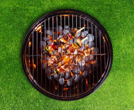 Barbecue grill with skewers