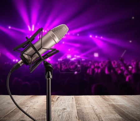 Singing microphone on music concert