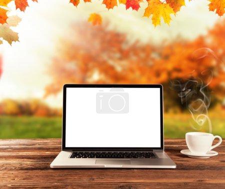 Laptop on wooden table in autumn season