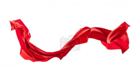 Isolated shot of red satin, isolated on white background