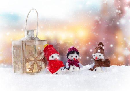 Christmas snowmaen with lantern