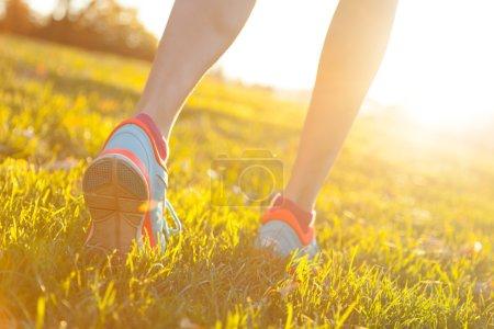 Close up of feet of female runner
