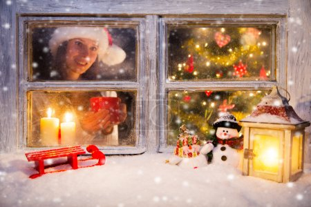 Atmospheric Christmas window still life