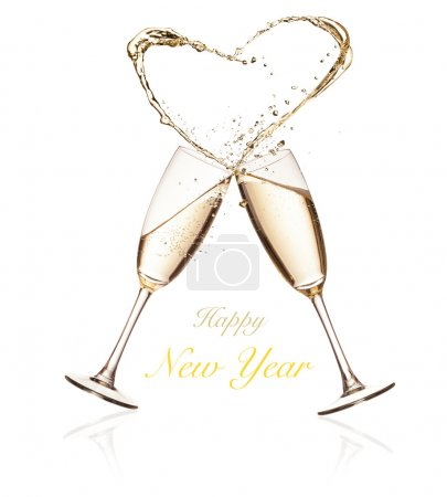 Glasses of champagne with splashing heart on white