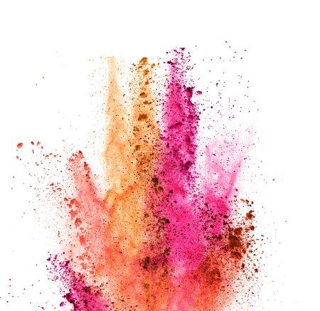 Photo pour Explosion de poudre colorée, isolé sur fond blanc - image libre de droit