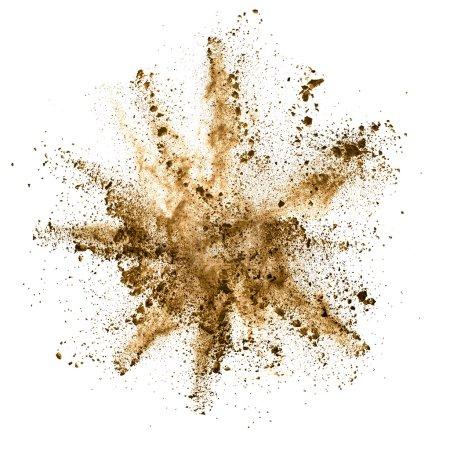 Photo pour Explosion de poudre brune, isolé sur fond blanc - image libre de droit