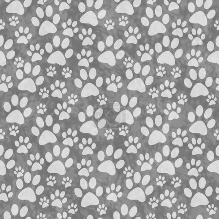 Gray Doggy Paw Print Tile Pattern Repeat Background