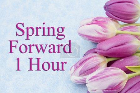 Photo pour Spring Time Change, Quelques tulipes avec fond bleu et texte Spring Forward 1 Hour - image libre de droit