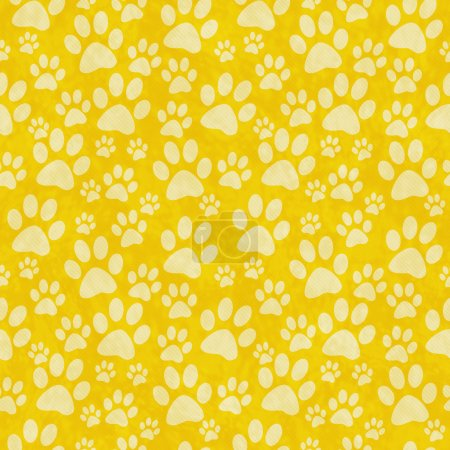 Yellow Doggy Paw Print Tile Pattern Repeat Background