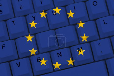 Photo for Internet access in European Union, The European Union flag on a computer keyboard - Royalty Free Image