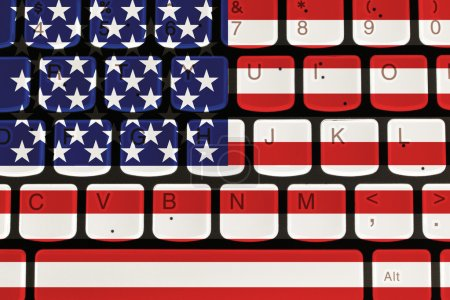 Internet in United States, computer keyboard with the American f