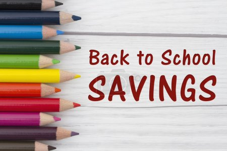 Pencil Crayons with text Back to School Savings