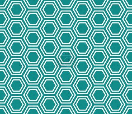 Photo pour Sarcelle et Blanc Hexagone Tuiles Motif Répéter Fond d'ensemble qui est transparente et se répète - image libre de droit