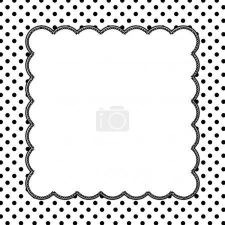 Photo for Black and White Polka Dot Background with Embroidery with center for copy-space, Classic Polka Dot Background - Royalty Free Image