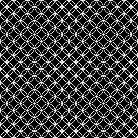Black and White Interlocking Circles Tiles Pattern Repeat Backgr