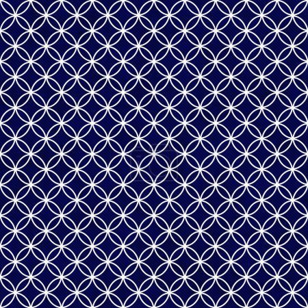 Navy and White Interlocking Circles Tiles Pattern Repeat Backgro