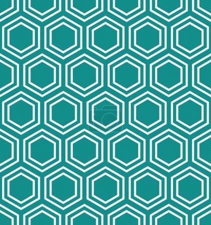 Photo pour Modèle de tuiles hexagonales sarcelle et blanche Répétez le fond qui est sans couture et répète - image libre de droit