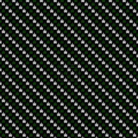 Photo pour Motif de feuille de marijuana verte et noire répétition fond qui est transparente et répète - image libre de droit