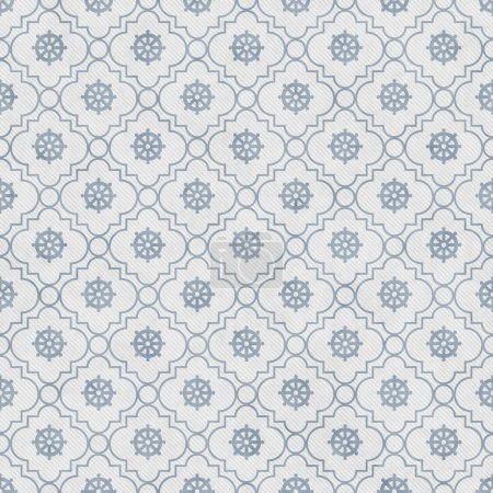 Pale Blue and White Wheel of Dharma Symbol Tile Pattern Repeat B