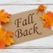 Fall Back  Card, A brown card with words Fall Back...