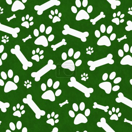 Green and White Dog Paw Prints and Bones Tile Pattern Repeat Bac