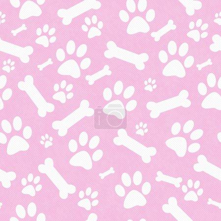 Photo pour Patte de chien rose et blanc imprimé et motif de tuile d'os Répétez le fond qui est sans couture et répète - image libre de droit