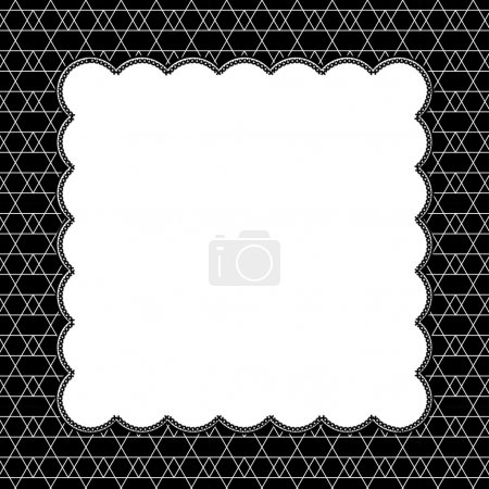 Black and White Line and Zigzag Patterned Background with Embroi