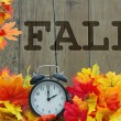 Fall Time, Autumn Leaves and Alarm Clock with grun...