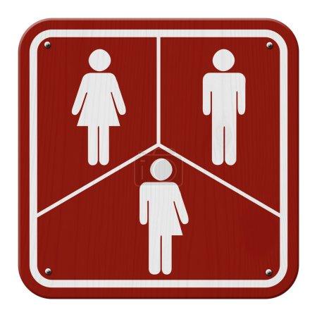 Photo pour Signe transgenre, signe rouge et blanc avec une femme, symbole masculin et transgenre - image libre de droit