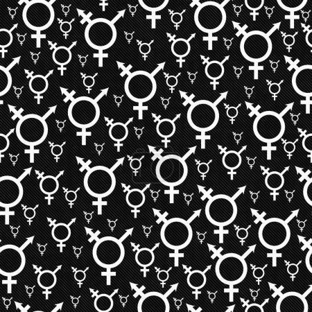 White and Black Transgender Symbol Tile Pattern Repeat Backgroun