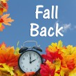 Fall Time Change, Autumn Leaves and Alarm Clock wi...