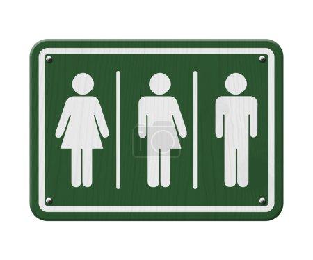 Photo pour Signe transgenre, signe vert et blanc avec une femme, symbole masculin et transgenre - image libre de droit